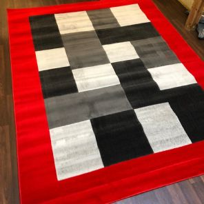 NEW MODERN BLOCK DESIGN RUGS RED 220X270CM 9X7FT APPROX QUALITY QUALITY MATS